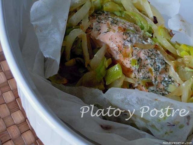Salmón en Papillote con Verduras por Plato y Postre