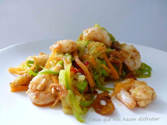 Espaguetis Vegetales con Gambas al Ajillo por Cosas_Disfrutar