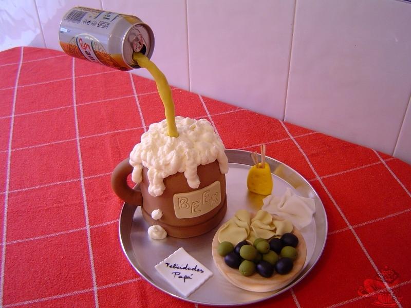 Tarta Jarra de Cerveza con Tapa por Marisalas