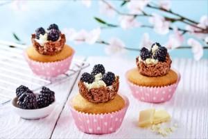 Cupcakes de nidos de mora