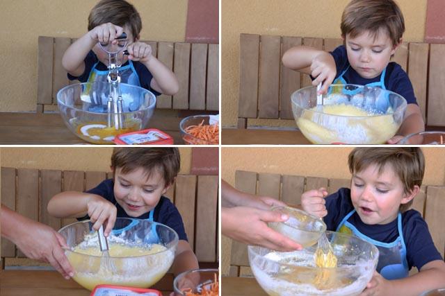 Preparación magdalenas de zanahoria