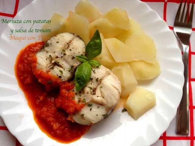 Merluza con patatas y salsa de tomate por Maquineta. Thermomix TM5.
