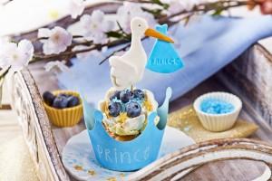 Cupcakes ¡Es un niño! de arándanos