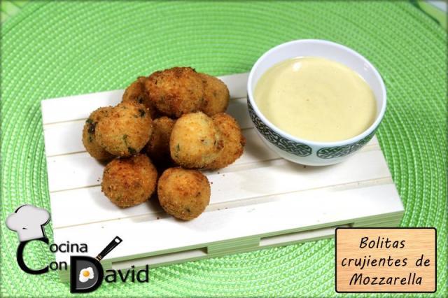Bolitas Crujientes de Mozzarella con Salsa de Miel y Mostaza por Cocina con David