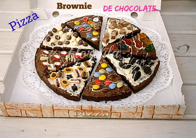 Pizza Brownie de Chocolate por Florelila