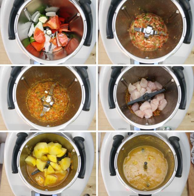 preparacion de Cazuela de patatas con pollo en Thermomix TM5