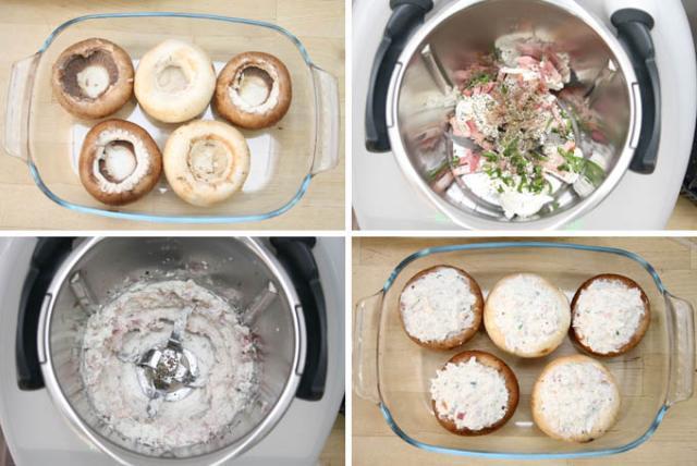 Preparacion de Champiñones rellenos de queso y bacon en Thermomix