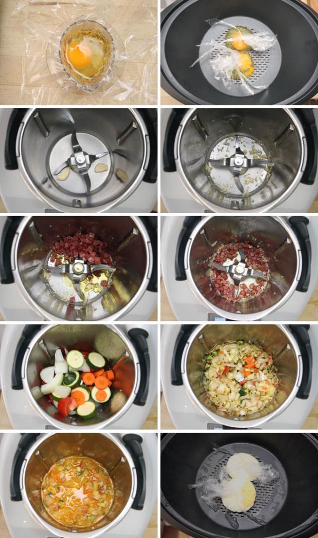 preparacion-sopa-de-verduras-jamon-y-huevo-poche-thermomix