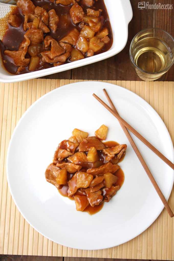 Escalopines de cerdo con pin?a y salsa agridulce en Thermomix