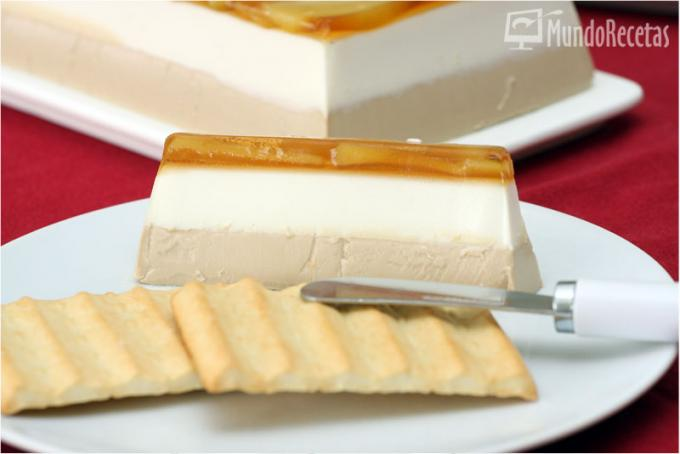 Mousse de foie y queso de cabra con manzana caramelizada
