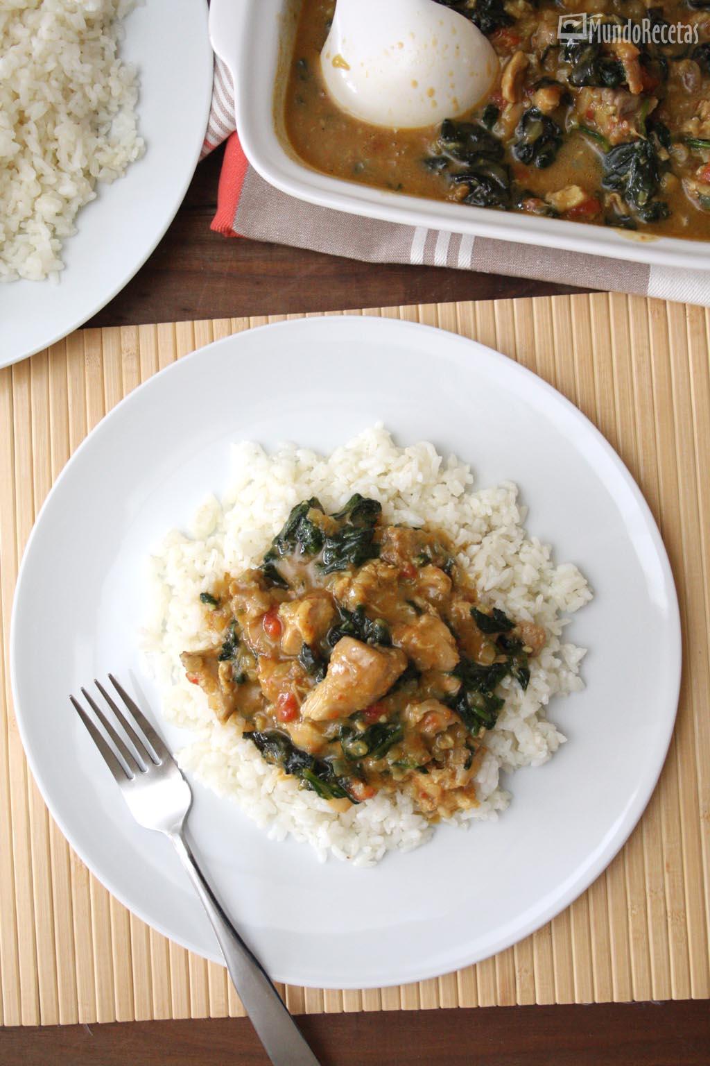 pollo al curry con espinacas thermomix