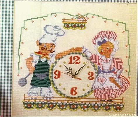 Reloj cocina for Esquemas punto de cruz cocina
