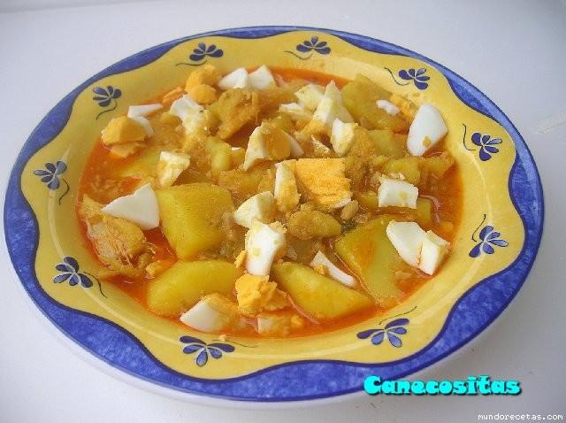 Guiso de patatas con bacalao thermomix - Patatas en caldo con bacalao ...