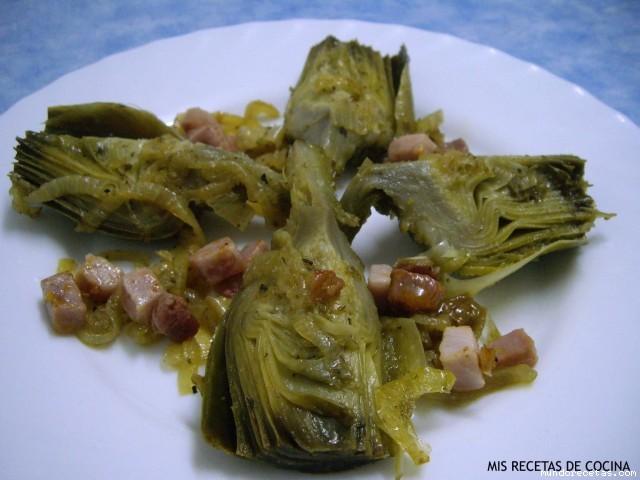 Alcachofas con jam n y cebollita - Arroz con alcachofas y jamon ...
