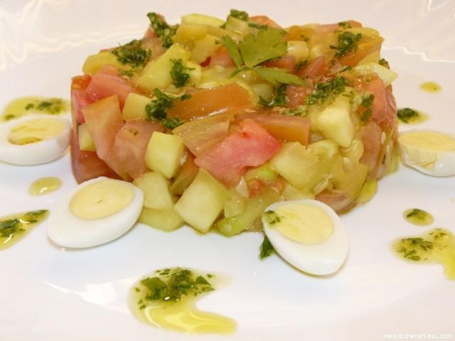 Receta de Ensalada templada de tomate y calabacín