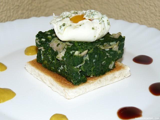 Receta de Espinacas con huevo poché