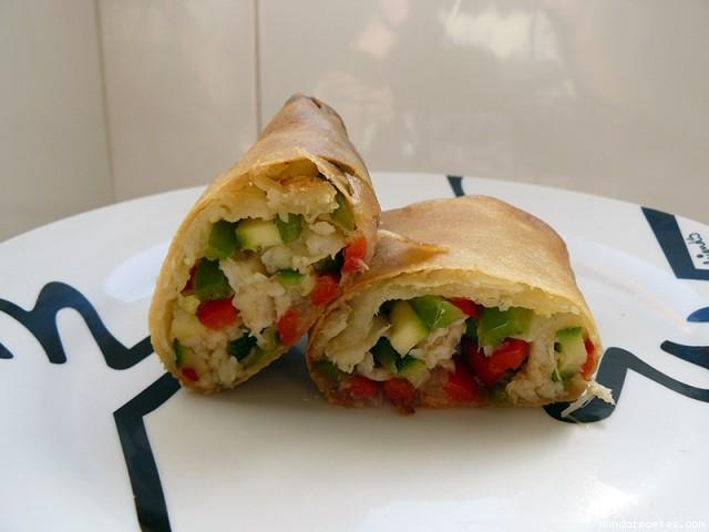 Receta de Rollitos chinos de verdura y pescado