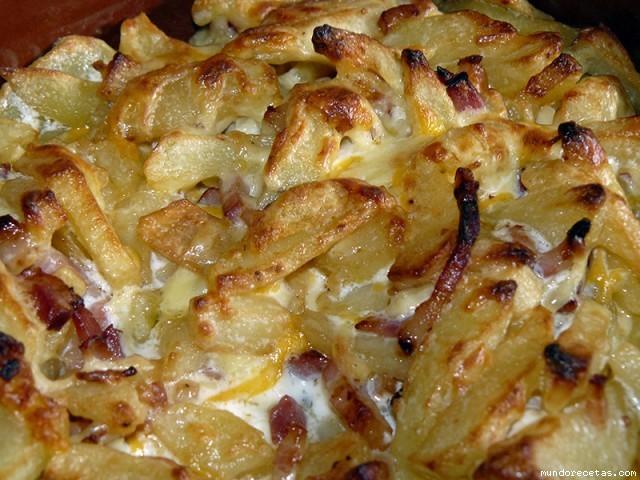 Receta de Patatas a los 4 quesos