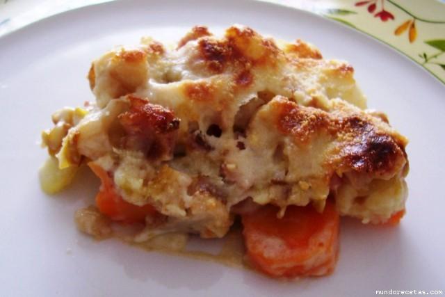 Gratinado de coliflor patatas y zanahoria - Gratinado de patata ...