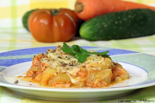 Calabación con tomate y queso al microondas