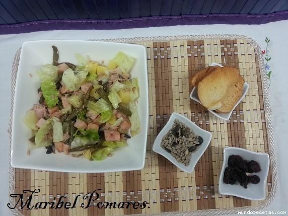 Ensalada lechuga at n jud as verdes jam n york patata - Tiempo coccion judias verdes ...